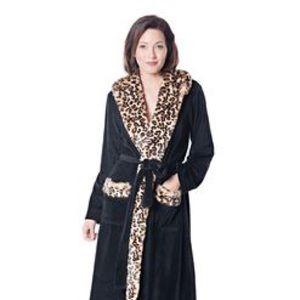 NWOT Fabulous Furs Leopard Fur Trimmed Black Robe